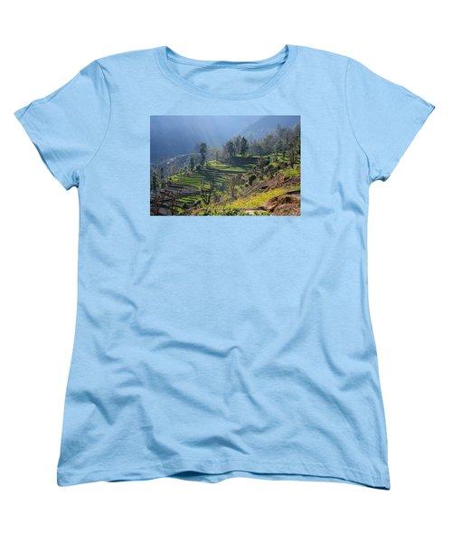 Himalayan Stepped Fields - Nepal Women's T-Shirt (Standard Cut) by Aidan Moran