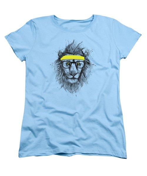 Hipster Lion Women's T-Shirt (Standard Cut) by Balazs Solti