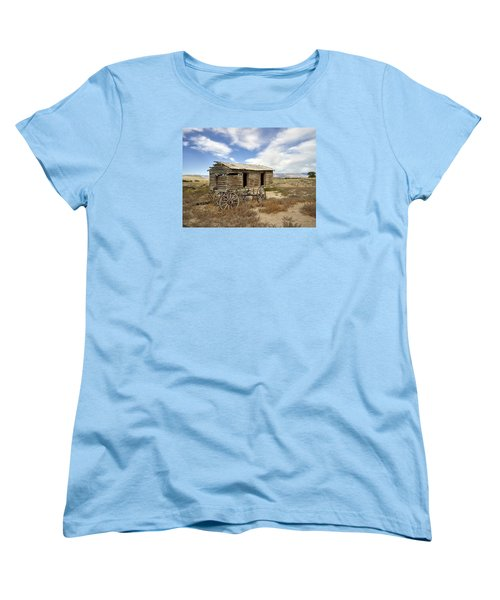 Historic Cabin And Buckboard Wheels In Big Horn County In Wyoming Women's T-Shirt (Standard Cut) by Carol M Highsmith