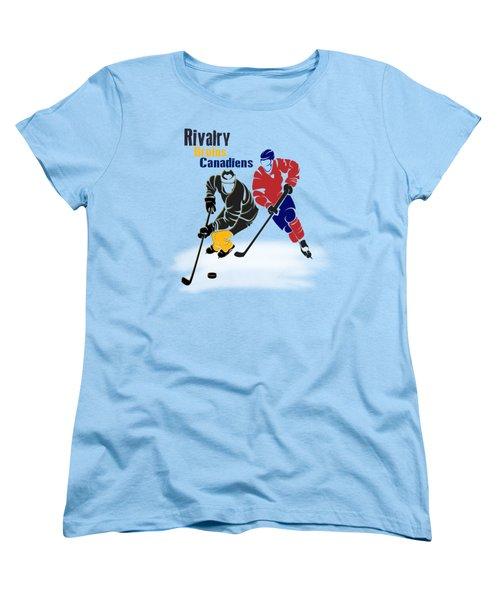 Hockey Rivalry Bruins Canadiens Shirt Women's T-Shirt (Standard Cut) by Joe Hamilton