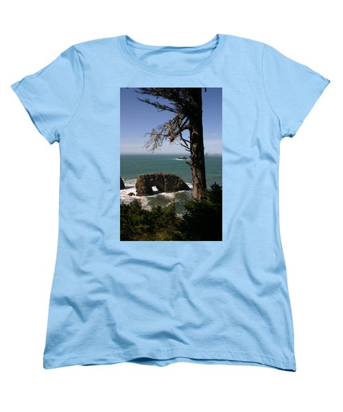 Women's T-Shirt (Standard Cut) featuring the photograph Hole In One At Arch Rock by Marie Neder