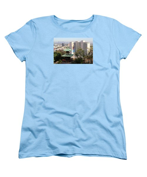 Women's T-Shirt (Standard Cut) featuring the photograph Hollywood View From Japanese Gardens by Cheryl Del Toro