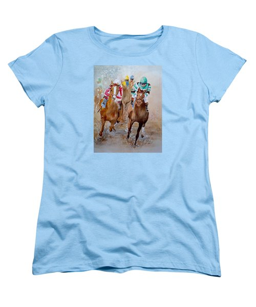 Women's T-Shirt (Standard Cut) featuring the painting Home Stretch by Marilyn Zalatan