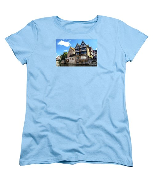 Women's T-Shirt (Standard Cut) featuring the photograph Homes Of Bruges by Pravine Chester
