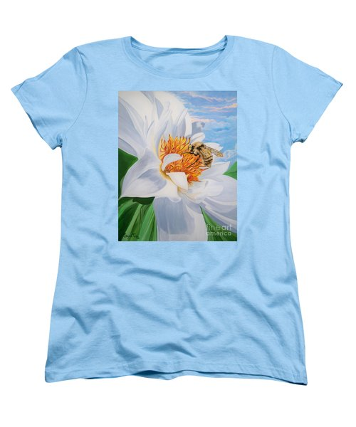 Women's T-Shirt (Standard Cut) featuring the painting Honey Bee On White Flower by Sigrid Tune