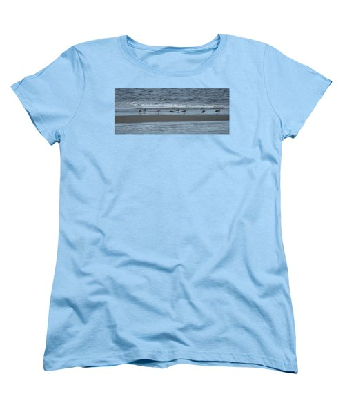 Horizontal Shoreline With Birds Women's T-Shirt (Standard Cut) by Margie Avellino
