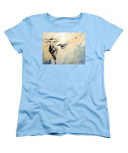 Horse Calling Crow Women's T-Shirt (Standard Cut) by Dina Dargo