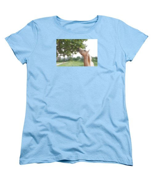 Women's T-Shirt (Standard Cut) featuring the digital art Horse Grazes In A Tree by Jana Russon