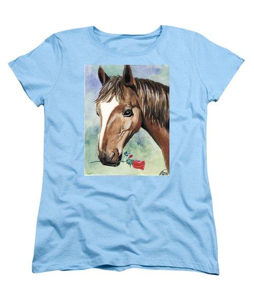 Horse In Love Women's T-Shirt (Standard Cut) by Alban Dizdari