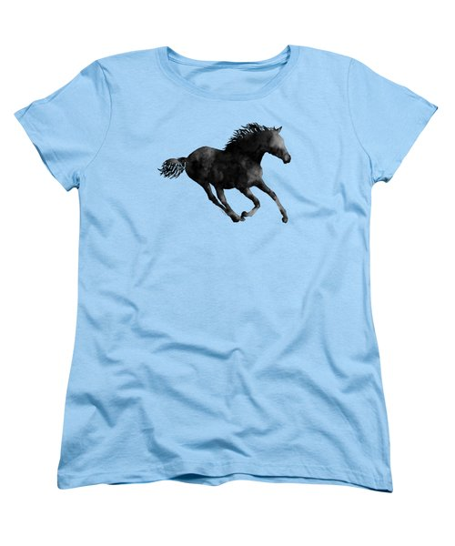 Women's T-Shirt (Standard Cut) featuring the painting Horse Running In Black And White by Hailey E Herrera