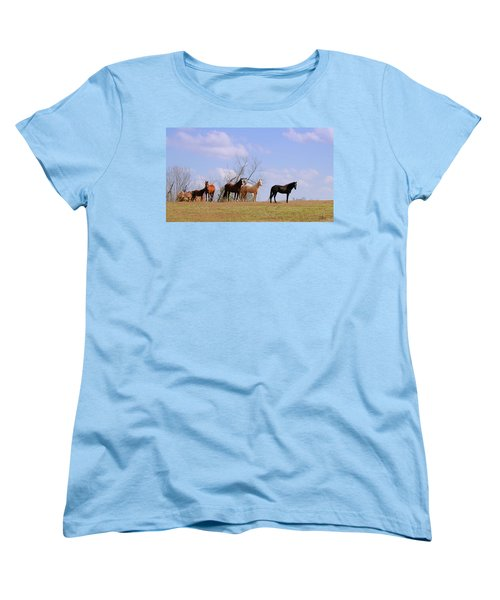 Women's T-Shirt (Standard Cut) featuring the photograph Horses On The Hill by Bonnie Willis