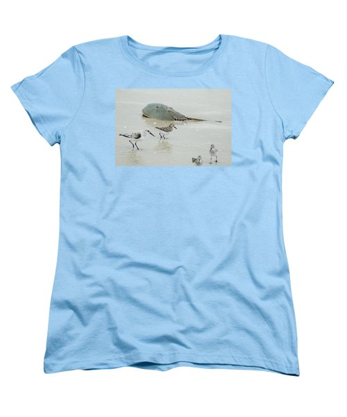 Women's T-Shirt (Standard Cut) featuring the photograph Horseshoe Crab With Migrating Shorebirds by Richard Bryce and Family