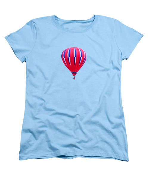 Hot Air Balloon - Red White Blue - Transparent Women's T-Shirt (Standard Cut) by Nikolyn McDonald