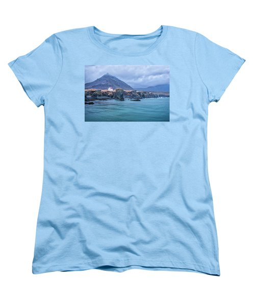 House On Ocean Cliff In Iceland Women's T-Shirt (Standard Cut) by Joe Belanger