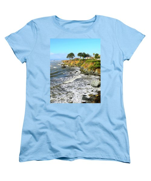 Women's T-Shirt (Standard Cut) featuring the photograph House On The Point Cayucos California by Barbara Snyder
