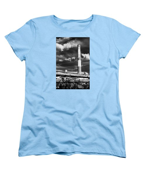 Huge Industrial Chimney And Smoke In Black And White Women's T-Shirt (Standard Cut) by John Williams