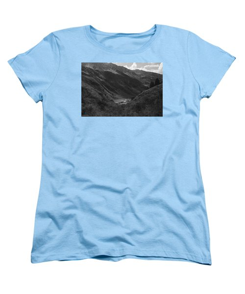 Hugged By The Mountains Women's T-Shirt (Standard Cut) by Cesare Bargiggia