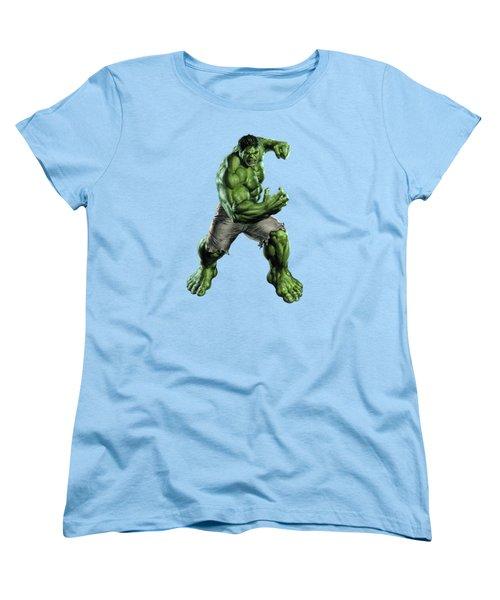 Women's T-Shirt (Standard Cut) featuring the mixed media Hulk Splash Super Hero Series by Movie Poster Prints