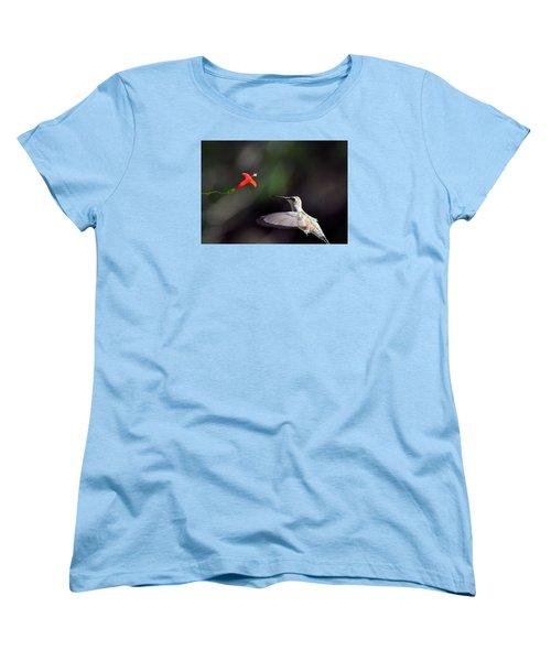 Hummingbird And Cardinal Climber Women's T-Shirt (Standard Cut) by Kathy Eickenberg