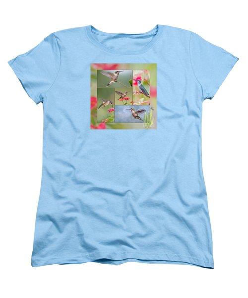 Hummingbird Collage Women's T-Shirt (Standard Cut) by Bonnie Barry