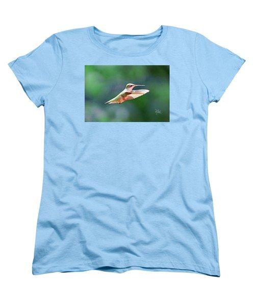 Women's T-Shirt (Standard Cut) featuring the photograph Hummingbird Flying by Meta Gatschenberger