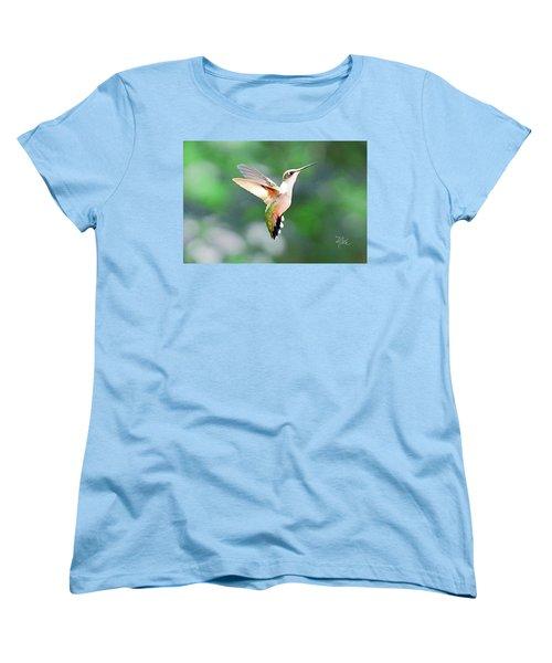 Women's T-Shirt (Standard Cut) featuring the photograph Hummingbird Hovering by Meta Gatschenberger