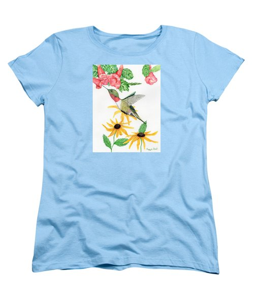 Women's T-Shirt (Standard Cut) featuring the painting Hummingbird by Peggy A Borel