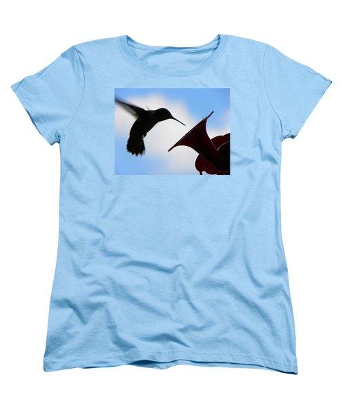 Women's T-Shirt (Standard Cut) featuring the photograph Hummingbird Silhouette by Sandi OReilly