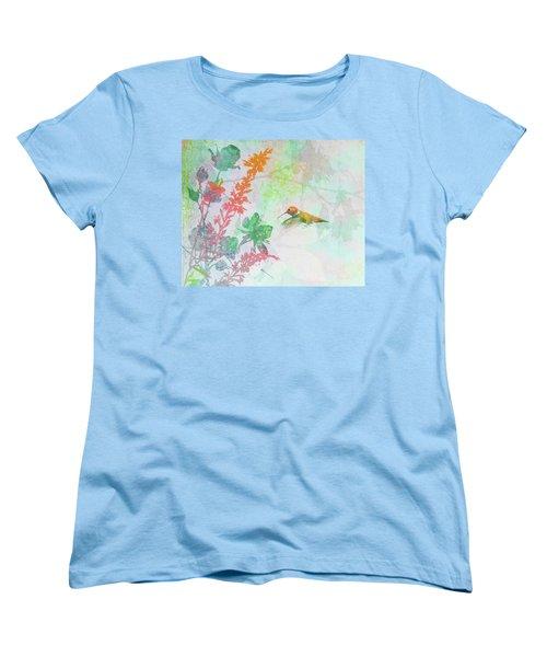 Women's T-Shirt (Standard Cut) featuring the digital art Hummingbird Summer by Christina Lihani