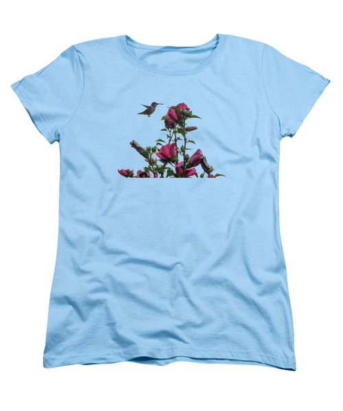 Hummingbird With Rose Of Sharon Women's T-Shirt (Standard Cut) by Photographic Arts And Design Studio