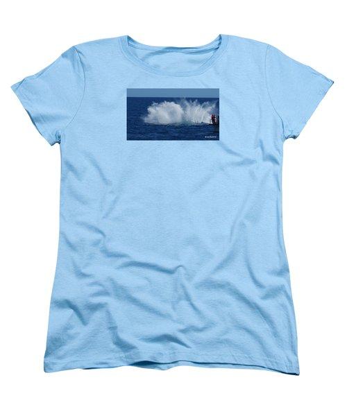 Humpback Whale Breaching Close To Boat 23 Image 3 Of 4 Women's T-Shirt (Standard Cut) by Gary Crockett
