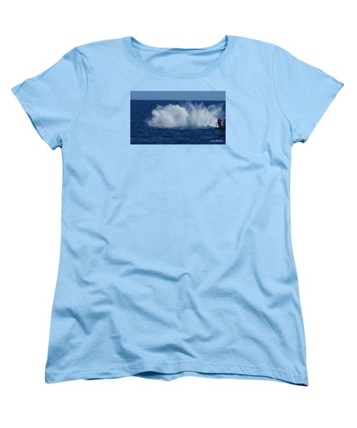 Humpback Whale Breaching Close To Boat 23 Image 3 Of 4 Women's T-Shirt (Standard Cut)
