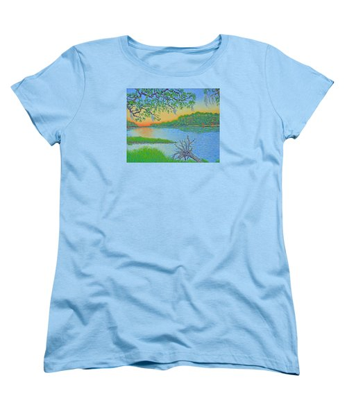 Women's T-Shirt (Standard Cut) featuring the painting Hunting Island Lagoon 2 by Dwain Ray