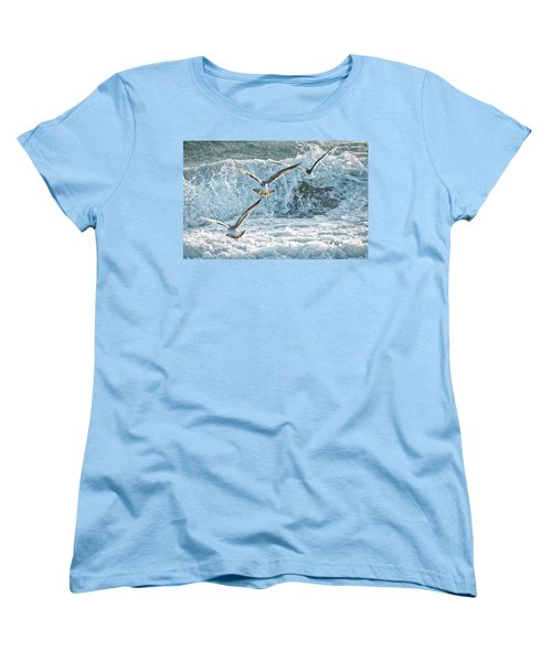 Women's T-Shirt (Standard Cut) featuring the photograph Hunting The Waves by Don Durfee