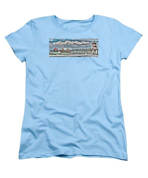 Women's T-Shirt (Standard Cut) featuring the photograph Huntington Beach Winter 2017 by Jim Carrell