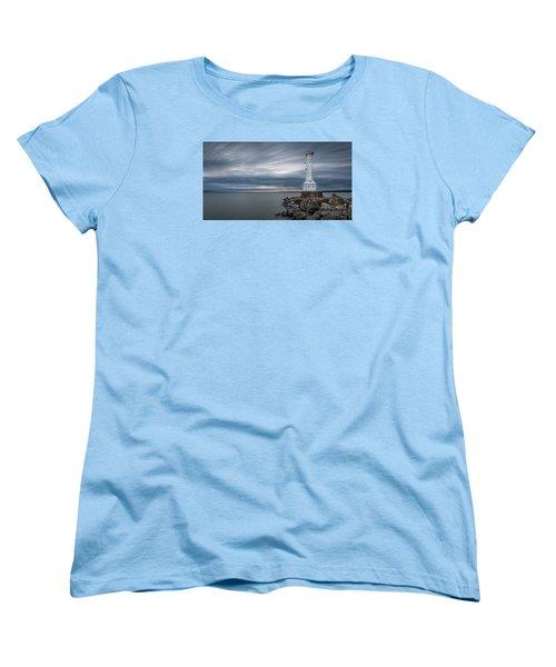 Huron Harbor Lighthouse Women's T-Shirt (Standard Cut) by James Dean