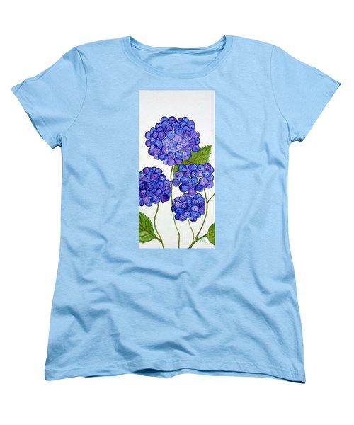 Women's T-Shirt (Standard Cut) featuring the painting Hydrangea by Reina Resto