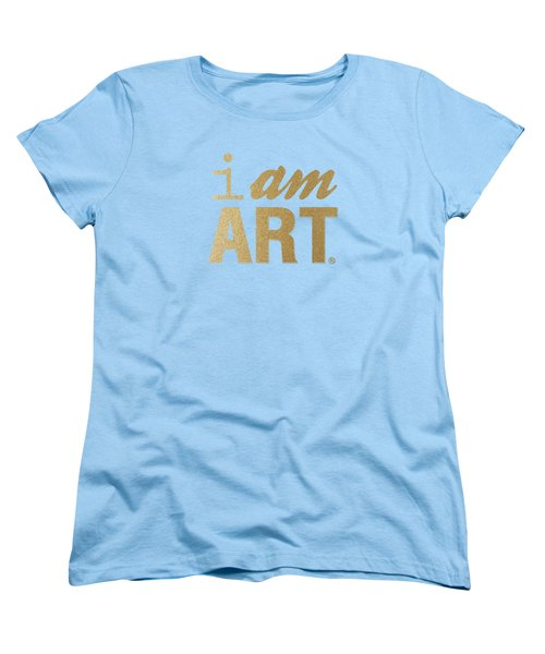 Women's T-Shirt (Standard Cut) featuring the mixed media I Am Art- Gold by Linda Woods