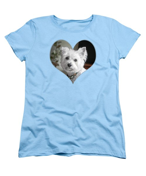 I Heart Puppy On A Transparent Background Women's T-Shirt (Standard Cut) by Terri Waters