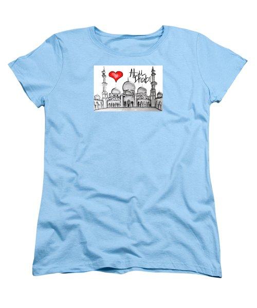 Women's T-Shirt (Standard Cut) featuring the drawing I Love Abu Dhabi by Sladjana Lazarevic