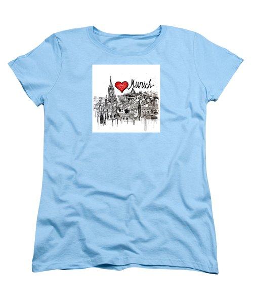 Women's T-Shirt (Standard Cut) featuring the drawing I Love Munich by Sladjana Lazarevic