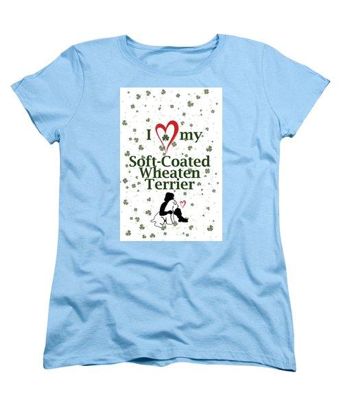 Women's T-Shirt (Standard Cut) featuring the digital art I Love My Wheaten Terrier by Rebecca Cozart