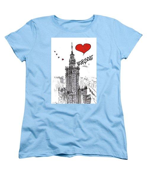 Women's T-Shirt (Standard Cut) featuring the drawing I Love Warsaw by Sladjana Lazarevic