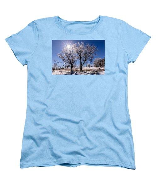Ice Coated Trees Women's T-Shirt (Standard Cut) by Randy Scherkenbach