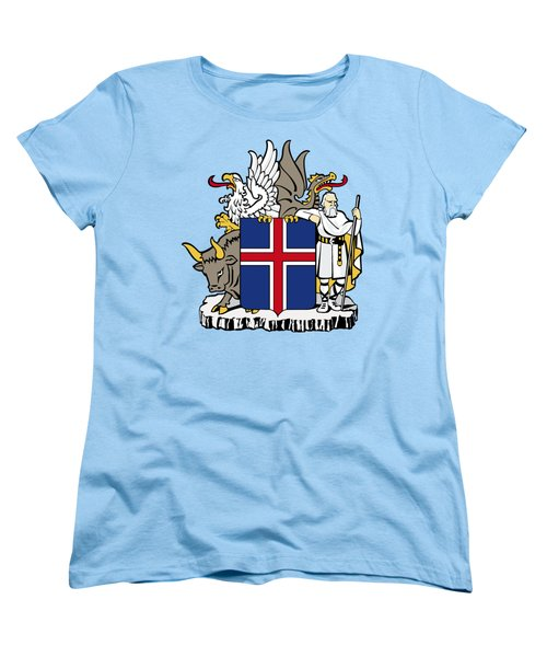 Women's T-Shirt (Standard Cut) featuring the drawing Iceland Coat Of Arms by Movie Poster Prints