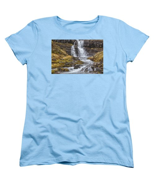 Women's T-Shirt (Standard Cut) featuring the tapestry - textile Iceland Fjord 2 by Kathy Adams Clark
