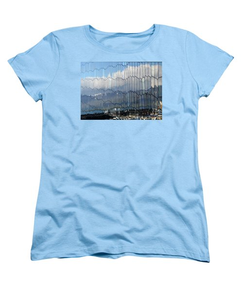 Women's T-Shirt (Standard Cut) featuring the photograph Iceland Harbor And Mountains by Joe Bonita