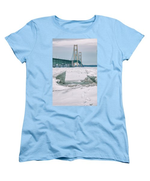 Women's T-Shirt (Standard Cut) featuring the photograph Icy Day Mackinac Bridge  by John McGraw
