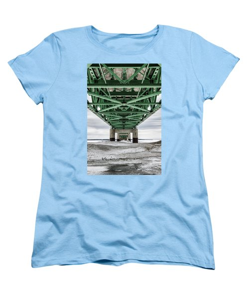 Women's T-Shirt (Standard Cut) featuring the photograph Icy Mackinac Bridge In Winter by John McGraw