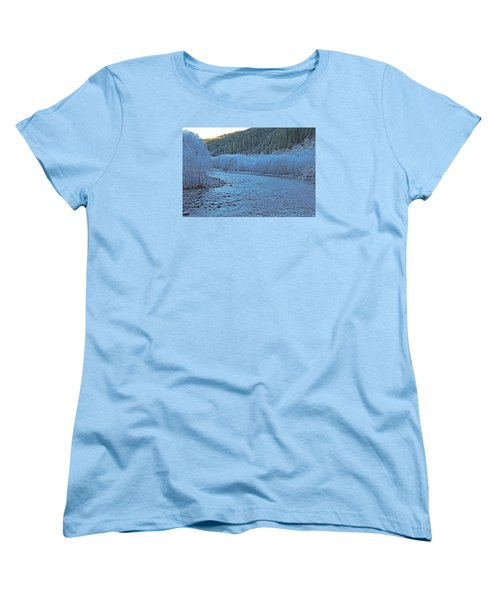 Women's T-Shirt (Standard Cut) featuring the photograph Icy River by Jack Moskovita